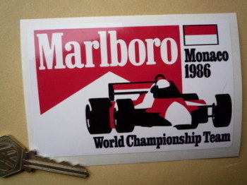 "Marlboro Monaco 1986 World Championship Team Sticker. 5""."
