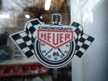 "Chronograph Heuer Stopwatch Window Sticker. 3""."