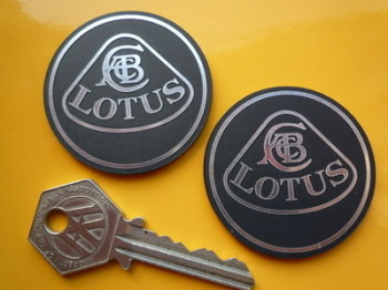 Lotus Round Badge Style Black Self Adhesive Car Badges. 24mm, 35mm or 50mm Pair.