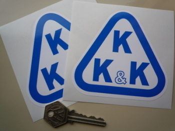 "KKK Blue & White Triangle Logo Stickers. 4"" Pair."