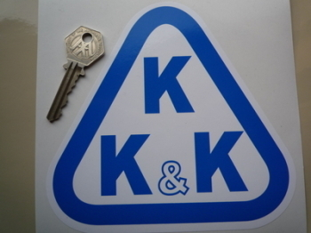 "KKK Blue & White Triangle Logo Sticker. 6""."