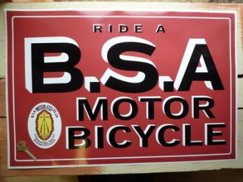 "Ride a BSA Classic Workshop Showroom Sticker. 23.5""."