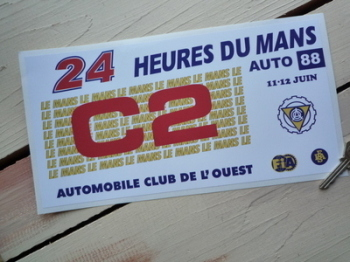 "24 Heures Du Mans LeMans Le Mans 1988 Car C2 Class Sticker. 12""."