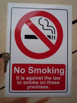 "No Smoking On These Premises Stickers. 8"" x 11.5"" Pair."