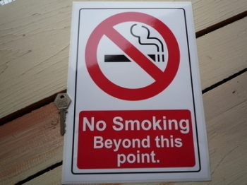 "No Smoking Beyond This Point Stickers. 8"" x 11.5"" Pair."
