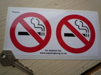 "No Smoking Circular Stickers. 3"" Pair."