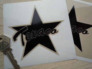 "Texaco Shaped Star Black & Beige Stickers. 4"" Pair."