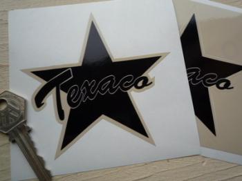"Texaco Shaped Star Black & Beige Stickers. 4"" Pair."