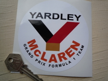"Yardley McLaren Formula 1 Circular Sticker. 4""."