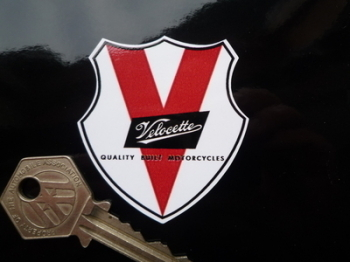 "Velocette V Shield Sticker. 2""."