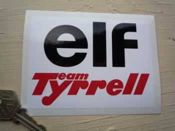 "Team Tyrrell & Elf Sticker. 4.5""."