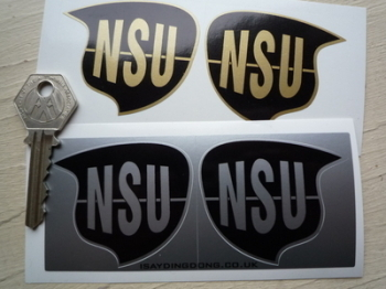 "NSU Metallic Shaped Stickers. 2.25"" Pair."