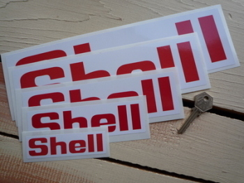 Shell Red & White Angular Text Stickers Pair. Various Sizes.