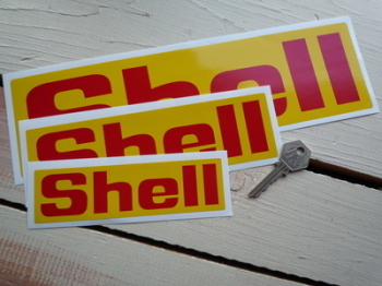 Shell Red & Yellow Angular Text Stickers Pair. Various Sizes.