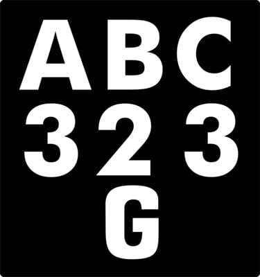 Brushscript Font. Motorcycle Number Plate Style. 63mm Tall Letters & Numbers.