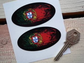 "Portugese Fade To Black Oval Flag Stickers. 3"" Pair."