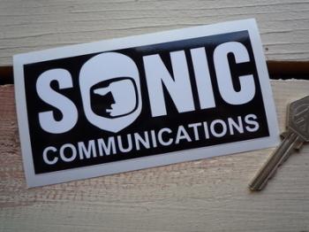 "Sonic Communications Black & White Sticker. 5""."