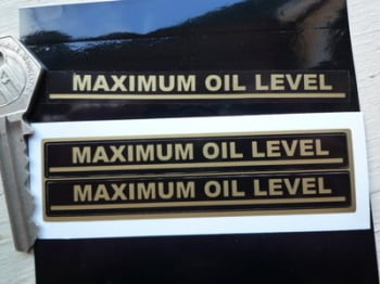 "Maximum Oil Level Indicator Stickers. 3.5"" Pair."