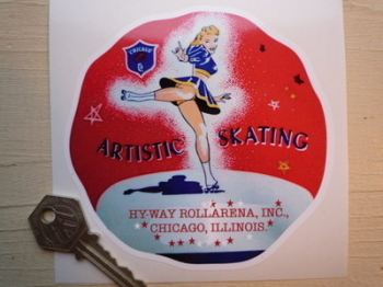 "Artistic Skating, Hyway Rollarena Chicago Sticker. 4.5""."