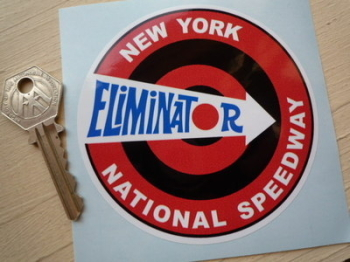 "New York National Speedway Eliminator Sticker. 4""."