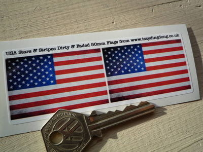 """USA Stars & Stripes Dirty & Faded Style Flag Stickers. 2"""" Pair."""