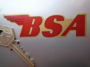 """BSA Shaped Red & Gold No Coachline Stickers. 4"""" Pair."""