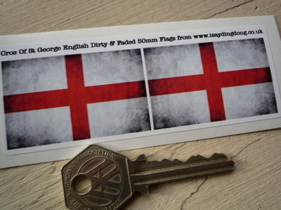 "English St Georges Cross Dirty & Faded Style Flag Stickers. 2"" Pair."