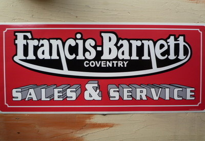 "Francis Barnett Sales & Service Sticker. 23.5""."