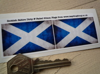 "Scottish Saltire Cross Dirty & Faded Style Flag Stickers. 2"" or 3"" Pair."