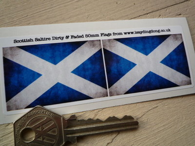 """Scottish Saltire Cross Dirty & Faded Style Flag Stickers. 2"""" or 3"""" Pair."""