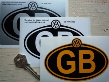 """Volkswagen VW Logo Style Nationality Country ID Plate Sticker. 5""""."""