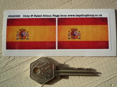 """Spanish Dirty & Faded Style Flag Stickers. 2"""" Pair."""