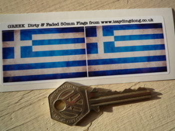 "Greece Dirty & Faded Style Flag Stickers. 2"" Pair."