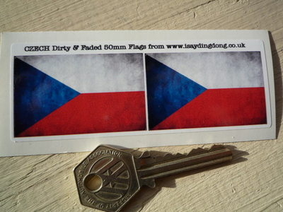 """Czech Republic Dirty & Faded Style Flag Stickers. 2"""" Pair."""