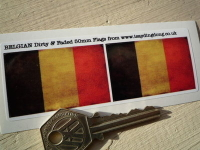 Belgium Dirty & Faded Style Flag Stickers. 2
