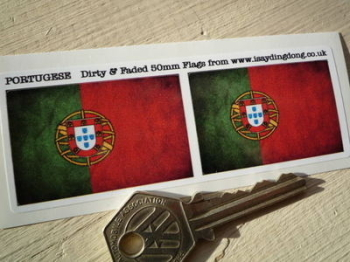 "Portugal Dirty & Faded Style Flag Stickers. 2"" Pair."