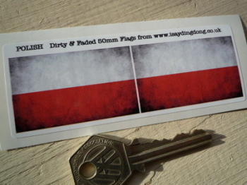"Poland Dirty & Faded Style Flag Stickers. 2"" Pair."