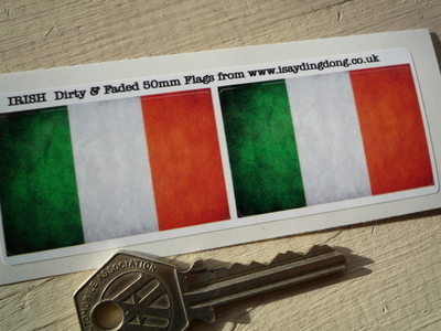 "Irish Dirty & Faded Style Flag Stickers. 2"" Pair."