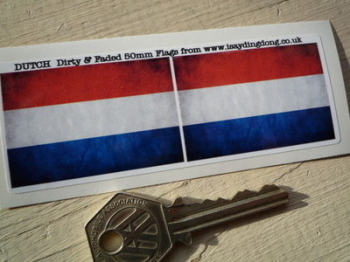 "Netherlands Dirty & Faded Style Flag Stickers. 2"" Pair."