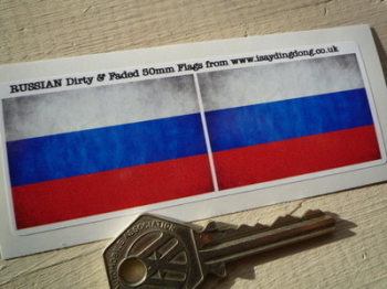 """Russia Dirty & Faded Style Flag Stickers. 2"""" Pair."""