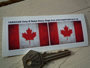 "Canadian Dirty & Faded Style Flag Stickers. 2"" Pair."