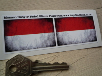 "Monaco Dirty & Faded Style Flag Stickers. 2"" Pair."
