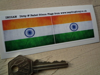"India Dirty & Faded Style Flag Stickers. 2"" Pair."