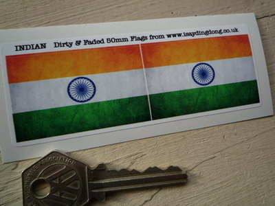 India Dirty & Faded Style Flag Stickers. 2