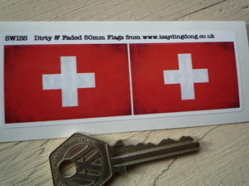 "Swiss Dirty & Faded Style Flag Stickers. 2"" Pair."