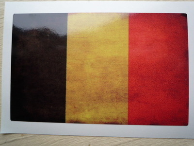 """Belgium Dirty & Faded Style Flag Sticker. 4""""."""