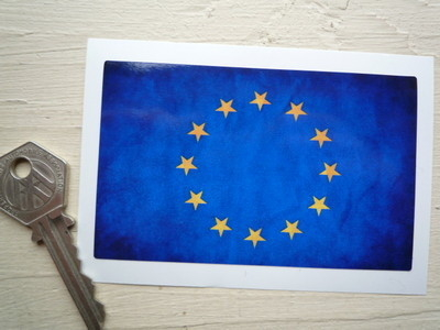 "European Union Dirty & Faded Style Flag Sticker. 4""."