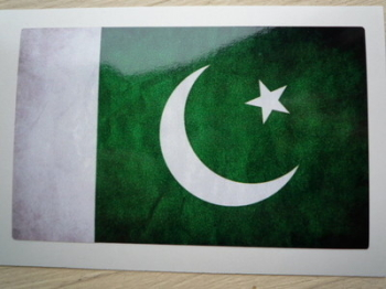 "Pakistani Dirty & Faded Style Flag Sticker. 4""."