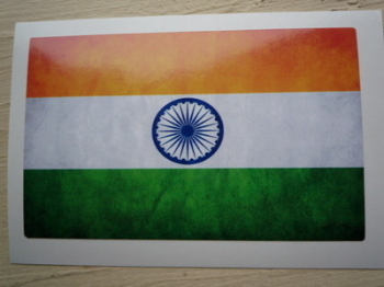 "India Dirty & Faded Style Flag Sticker. 4""."