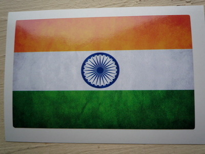 """India Dirty & Faded Style Flag Sticker. 4""""."""